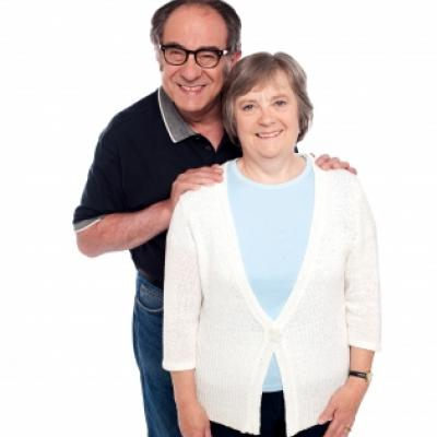 Happy elderly couple for colorectal cancer prevention month